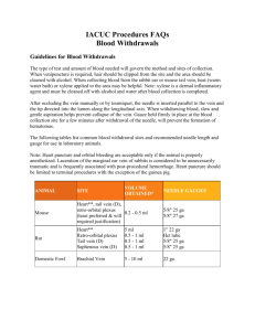 IACUC Procedures FAQs Blood Withdrawals Guidelines for Blood