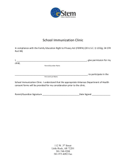 School Immunization Clinic In compliance with the Family Education