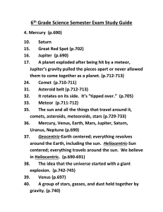 6th Grade Science Semester Exam Study Guide 4. Mercury (p.690