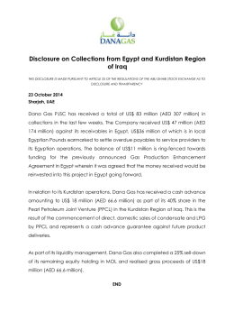 Disclosure on Collections from Egypt and Kurdistan Region of Iraq