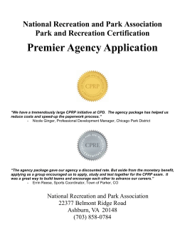 Premier Agency Application - National Recreation and Park