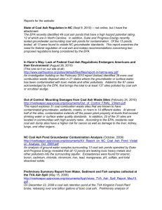 Reports for the website: State of Coal Ash Regulation in NC (Sept 9