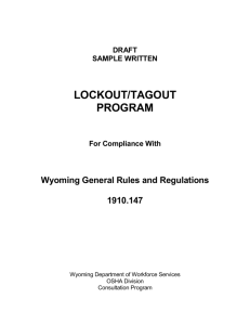 DRAFT SAMPLE WRITTEN LOCKOUT/TAGOUT PROGRAM For