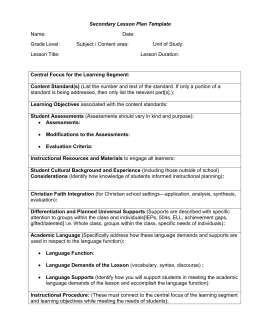 Secondary Lesson Plan Long Form 2015