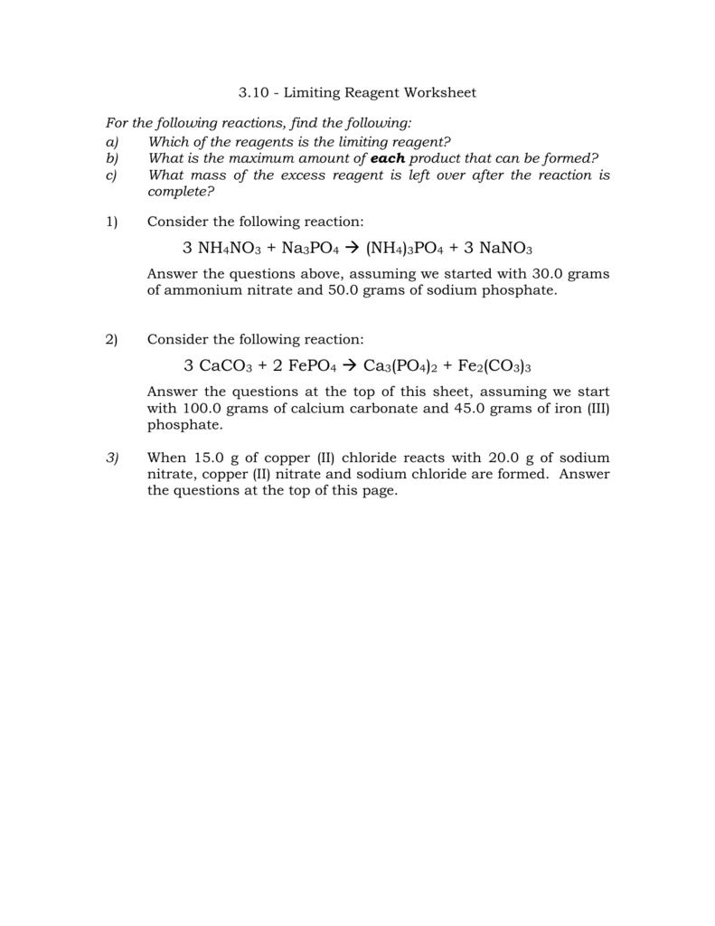 Worksheets Limiting Reagent Worksheet limiting reagent worksheet