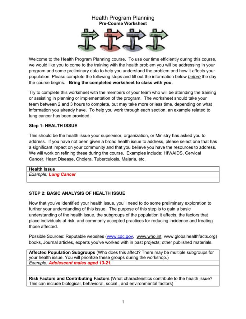worksheet Cholera Worksheet pre course worksheet for participants