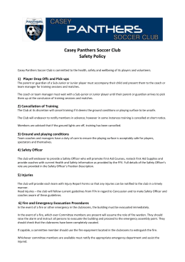 Casey Panthers Soccer Club Safety Policy