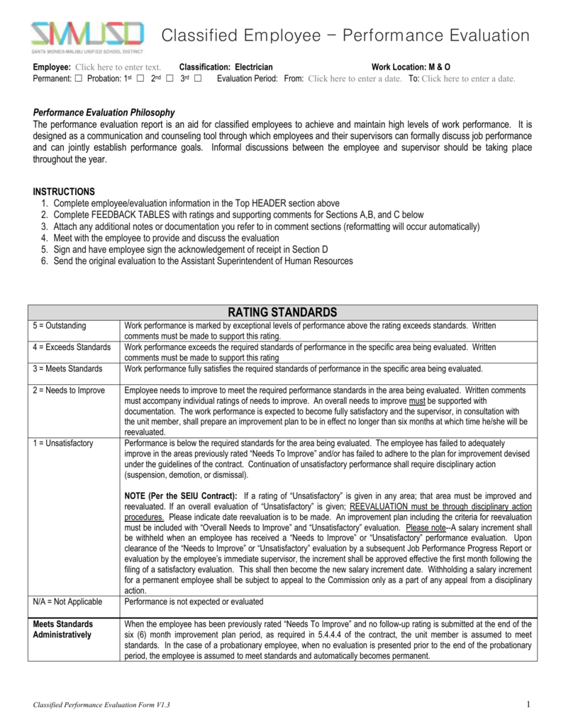 Electrician Performance Evaluation – Performance Evaluation Forms