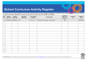 School Curriculum Activity Register