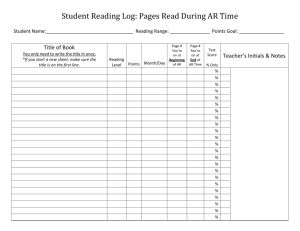 Student Reading Log: Pages Read During AR Time