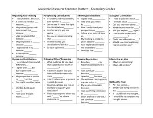 DBQ Evidence and Analysis Sentence Starters
