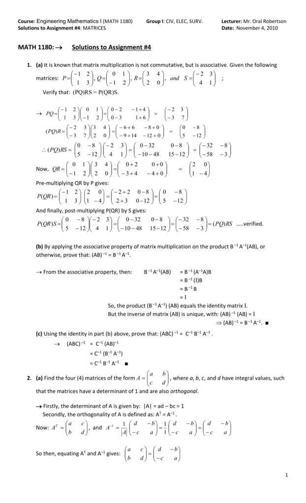 MATH 1180: ® Solutions to Assignment #4
