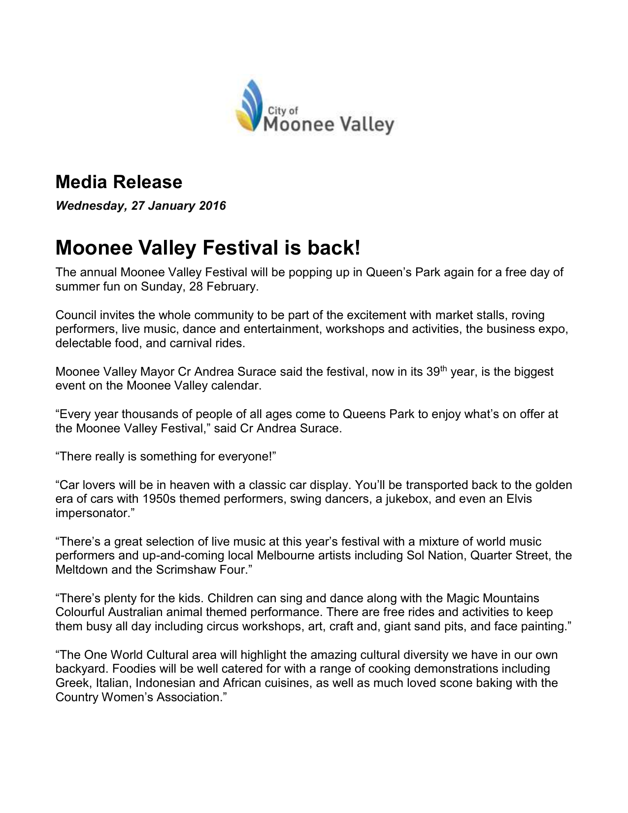 Media Release - City of Moonee Valley