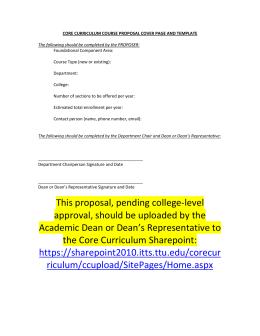 core curriculum course proposal template