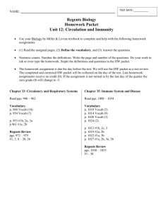 Regents Biology Homework Packet Unit 12: Circulation and Immunity