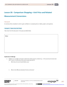 Lesson 20: Comparison Shopping—Unit Price and