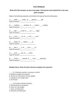 Mole Worksheet Answers