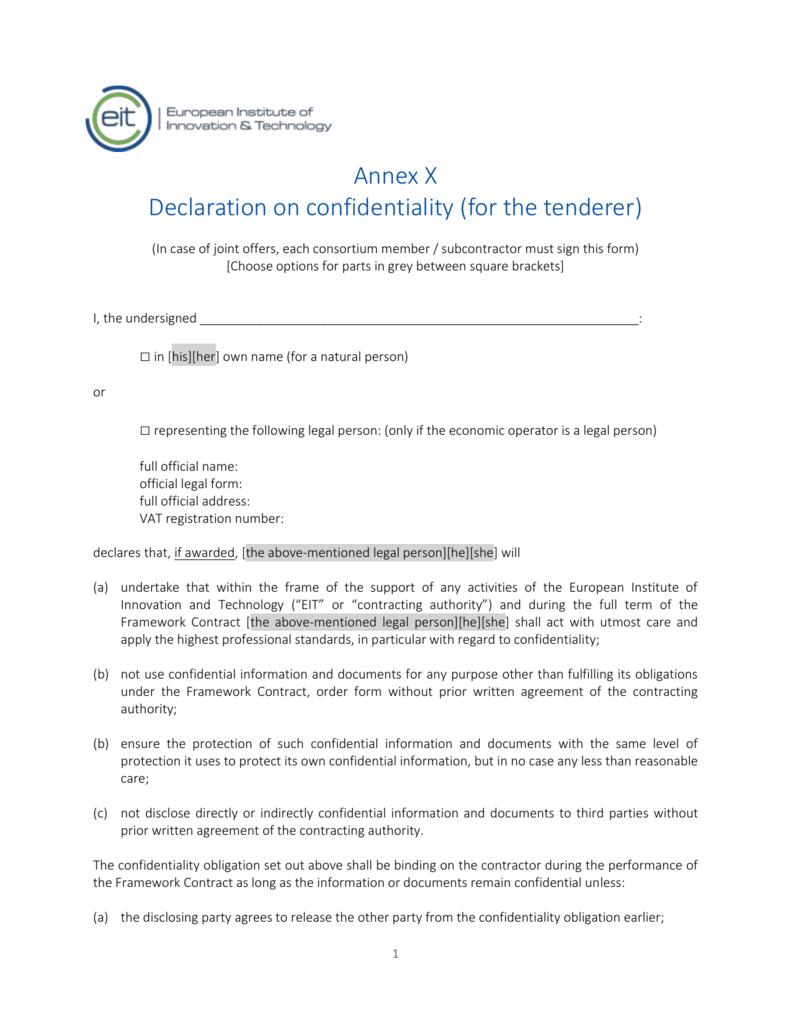 Confidentiality Declaration