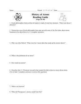 History of Atoms Reading Guide