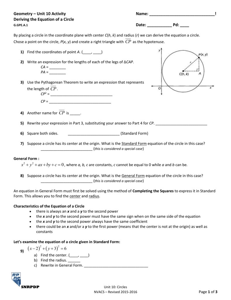 Geometry Unit 10 Activity Name Deriving The Equation Of A Circle
