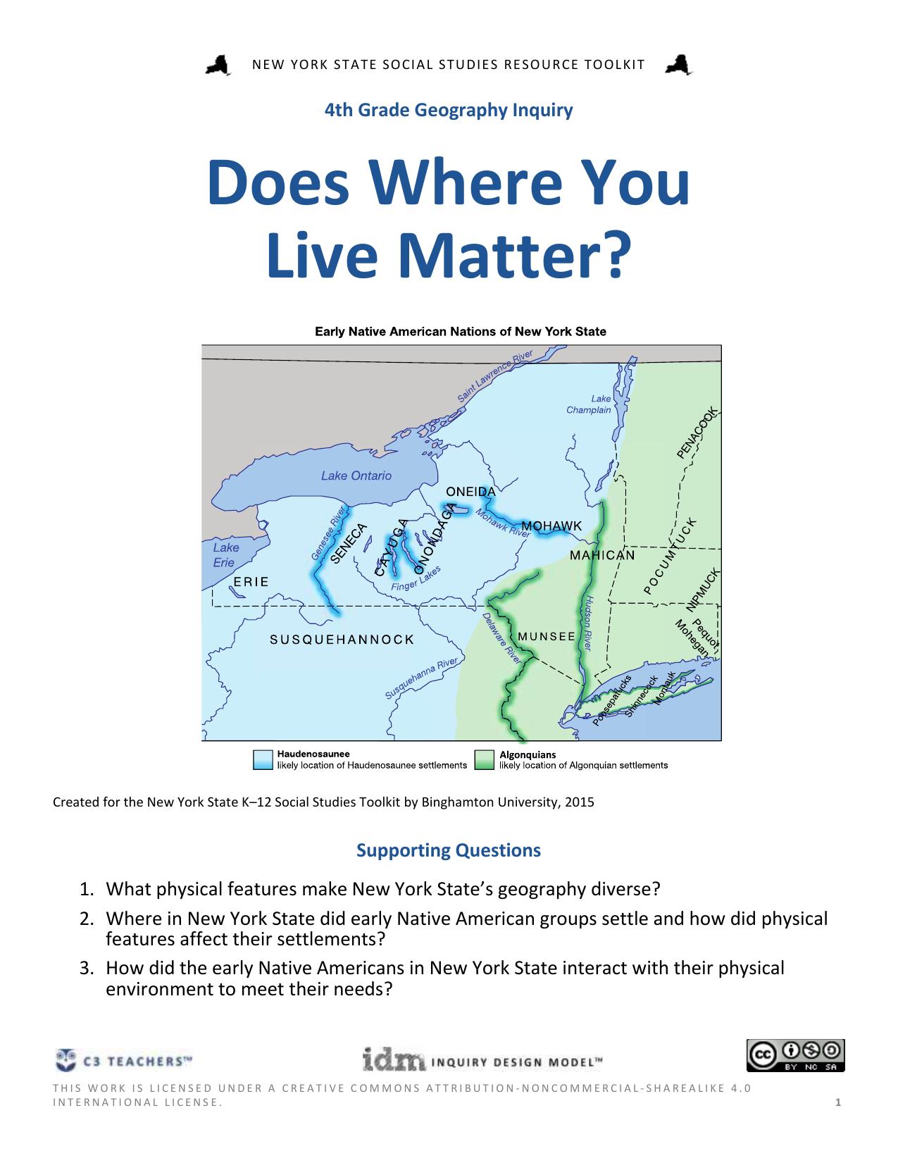 Map Of New York State 4th Grade.Doc C3 Teachers