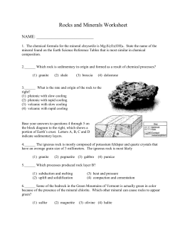 Review Worksheet On Rocks And Minerals