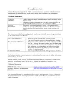 Truancy Reference Sheet - Jefferson Parish Public School System