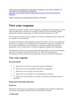 UCML response to reviewed GCSEs (July 2013)