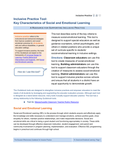Inclusive Practice Tool: Key Characteristics of Social and Emotional