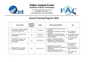 Failure Analysis Center Institute of Space Technology