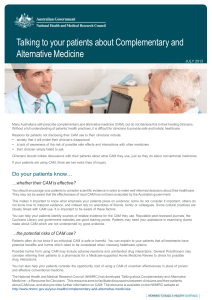 Talking to your patients about Complementary and Alternative