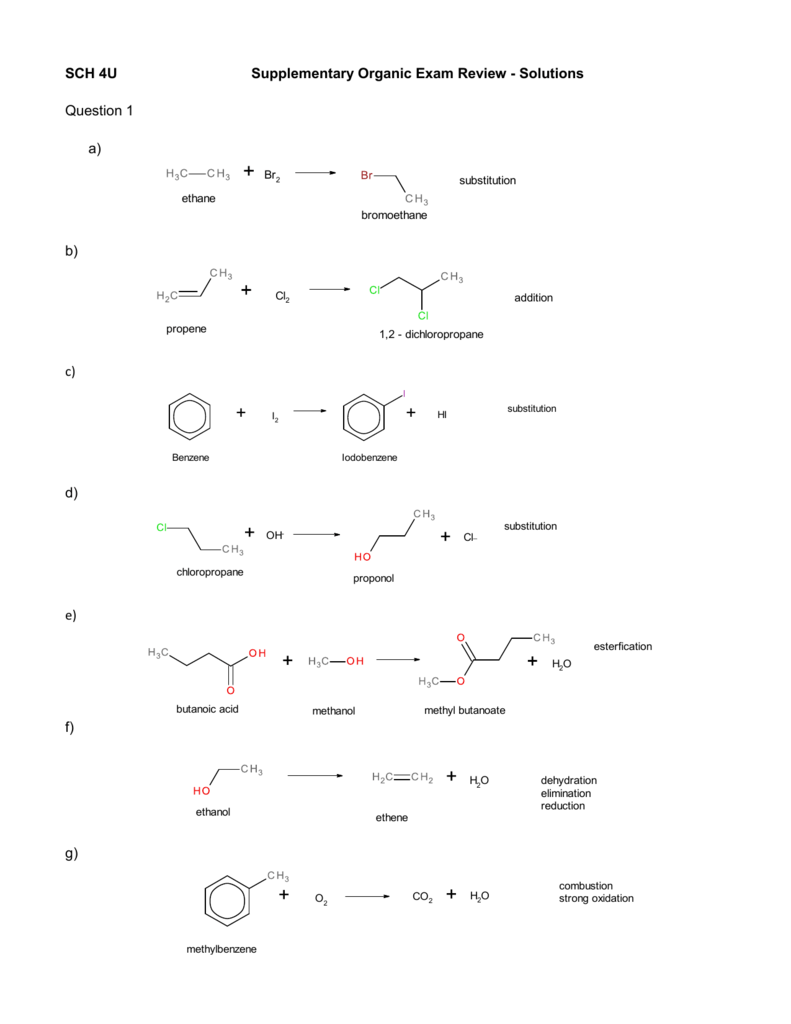 Organic Reactions Worksheet