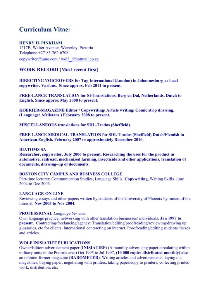 Curriculum Vitae Translation Directory