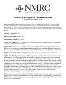 Food Scrap Management Grant Opportunity Release date: March 1