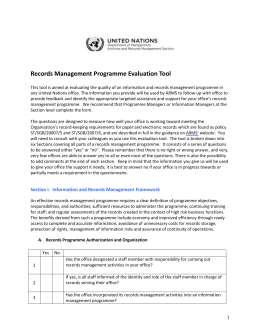 Records Management Programme Evaluation Tool
