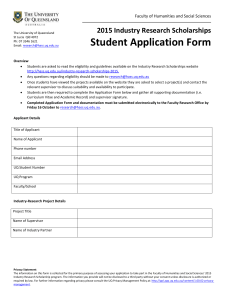 Student Application Form - Faculty of Humanities and Social Sciences