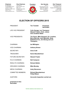 2015 Election of Officers - Hampshire Cricket League