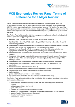 VCE Economics Review Panel Terms of Reference for a Major Review