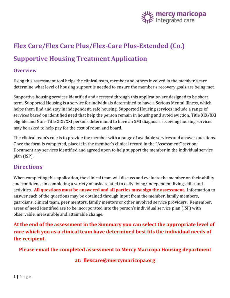 Flex Care Supportive Housing Application