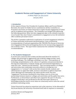Academic Review and Engagement at Tulane University