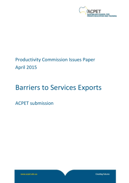 Submission 8 - ACPET - Services Exports