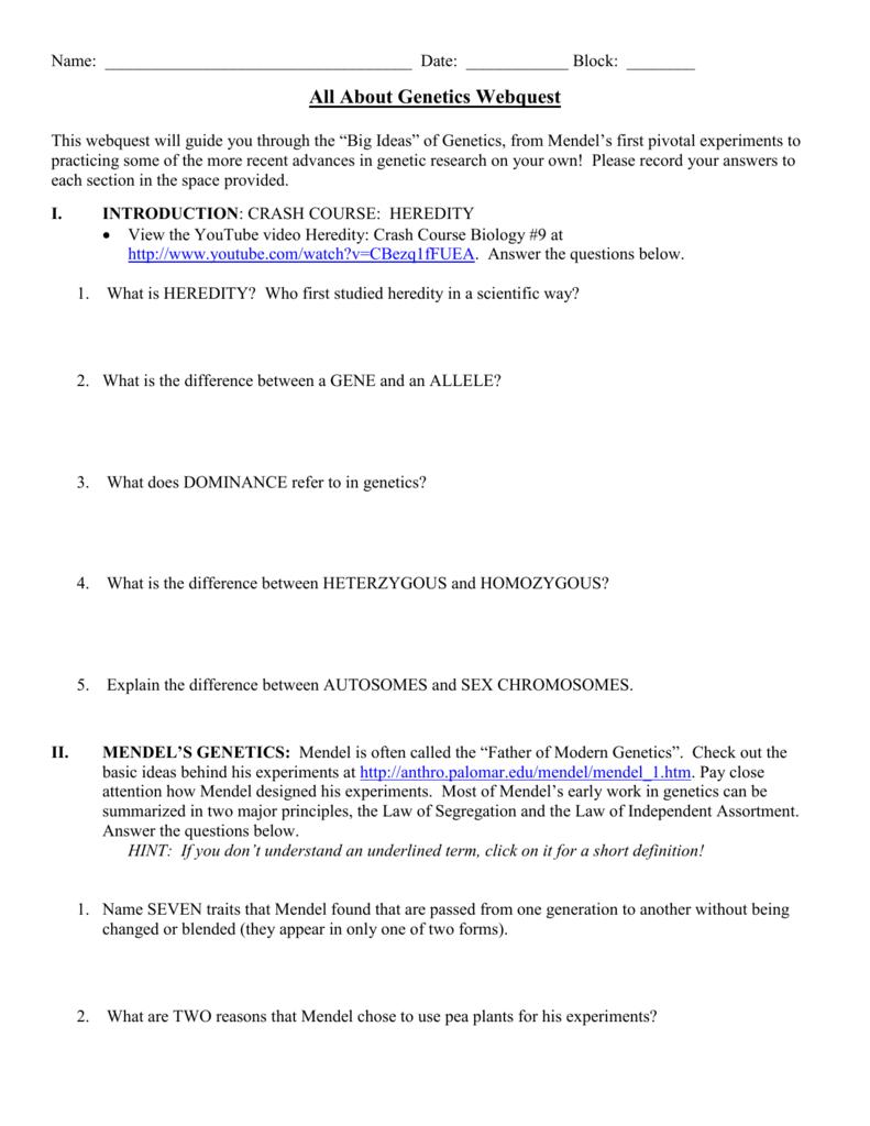Genetics Webquest Worksheet Answers