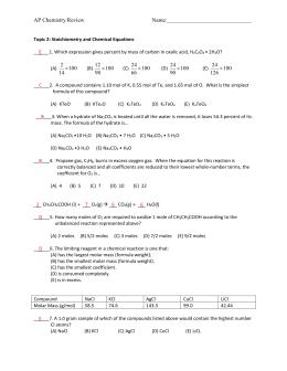 Chem 100 Exam 4 Review Sheet