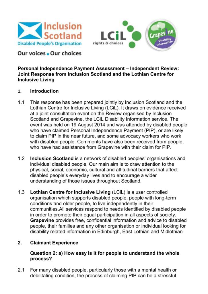 Inclusion Scotland Lcil Evidence Pip Assessment Review