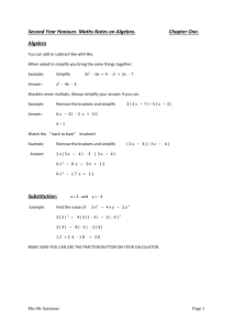 Second Year Honours Maths Notes on Algebra