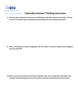 Culturally Inclusive Thinking Classroom