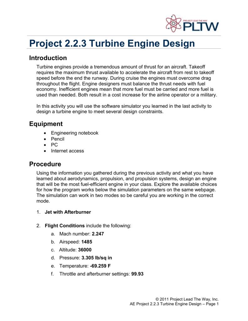 Project 2 2 3 Turbine Engine Design Introduction
