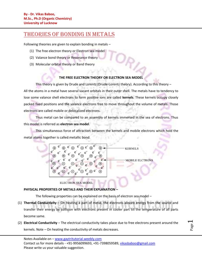 8  Bonding in Metals - Gaytri Tutorial