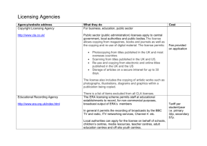 Licensing agencies and licence checklist (.doc format, 23Kb)