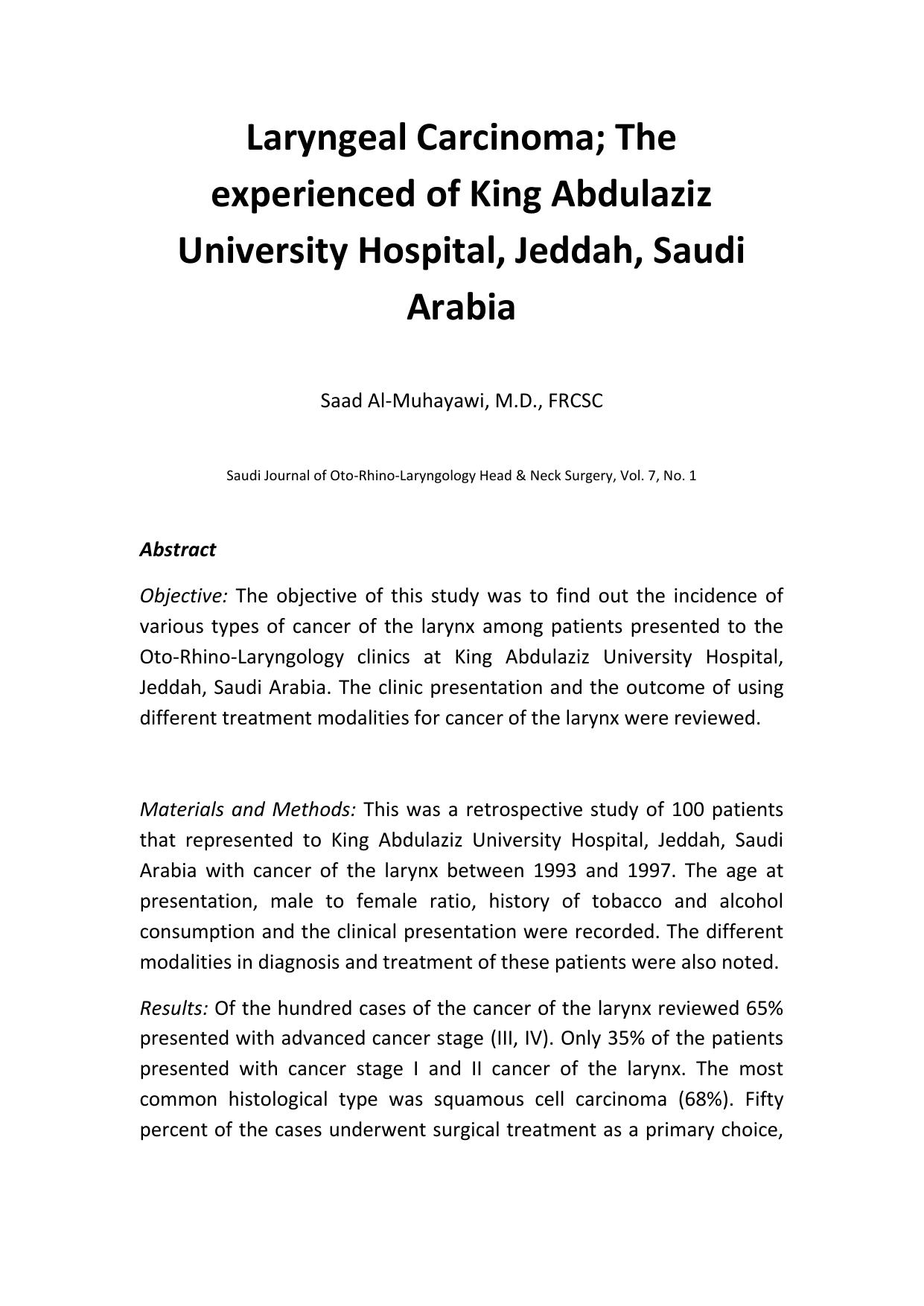 laryngeal cancer case study